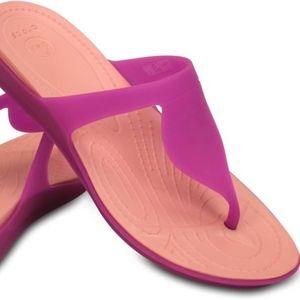 NEW Crocs Rio Vibrant Violet Melon Flip Flops Sz 8